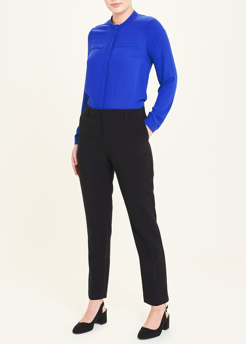 Blue Long Sleeve Henley Blouse