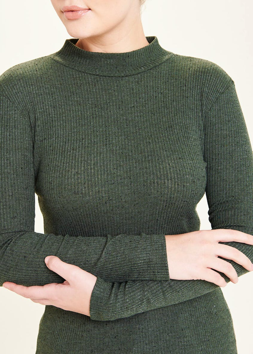 Ribbed Funnel Neck Top