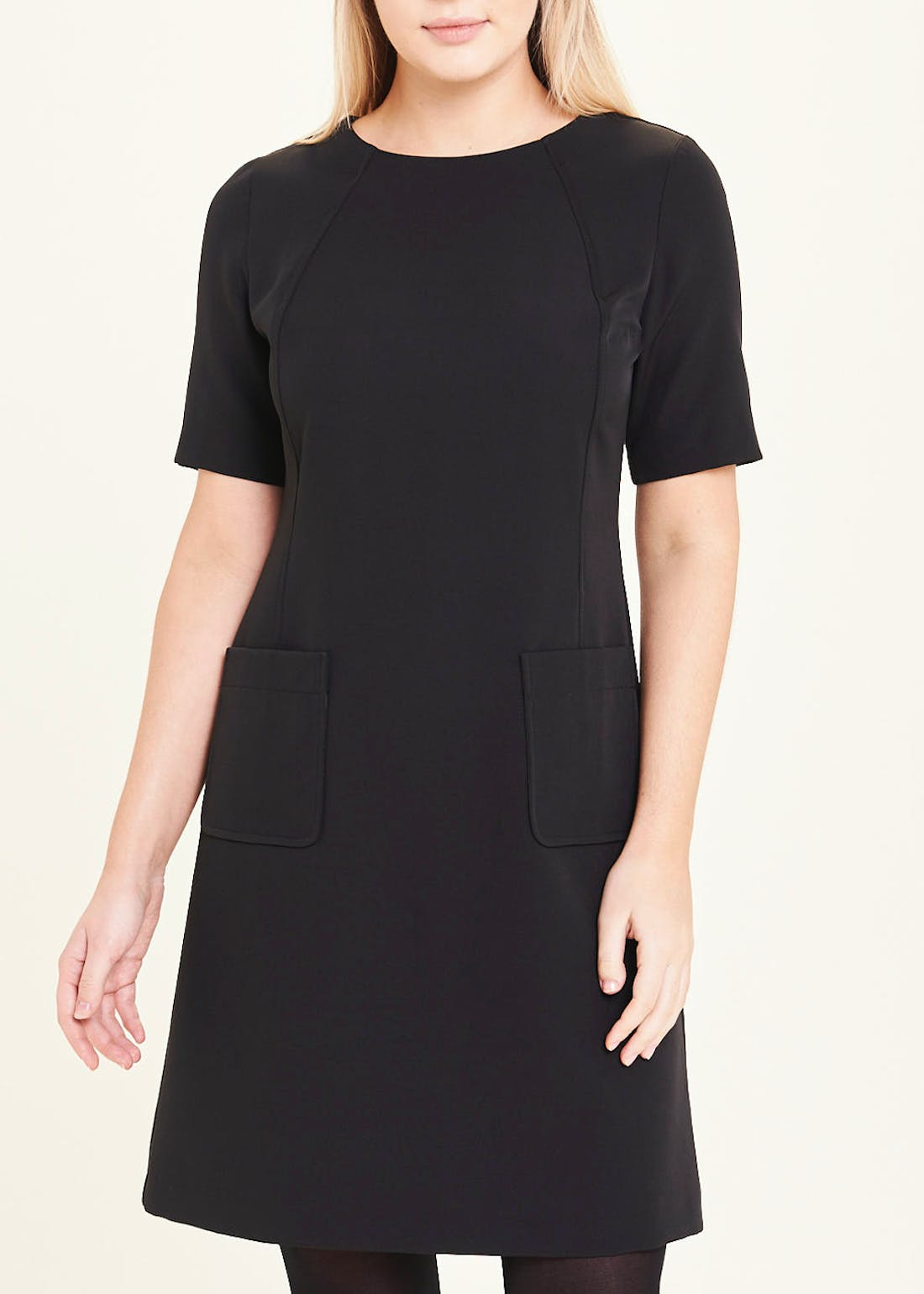 Black Short Sleeve Pocket Shift Dress