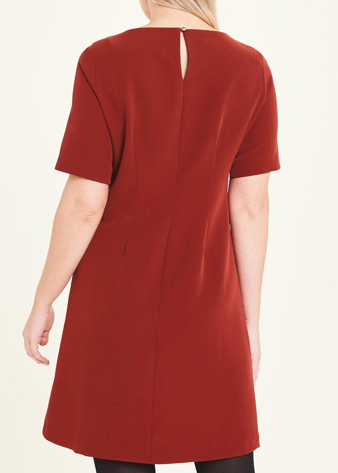 Rust Short Sleeve Pocket Shift Dress