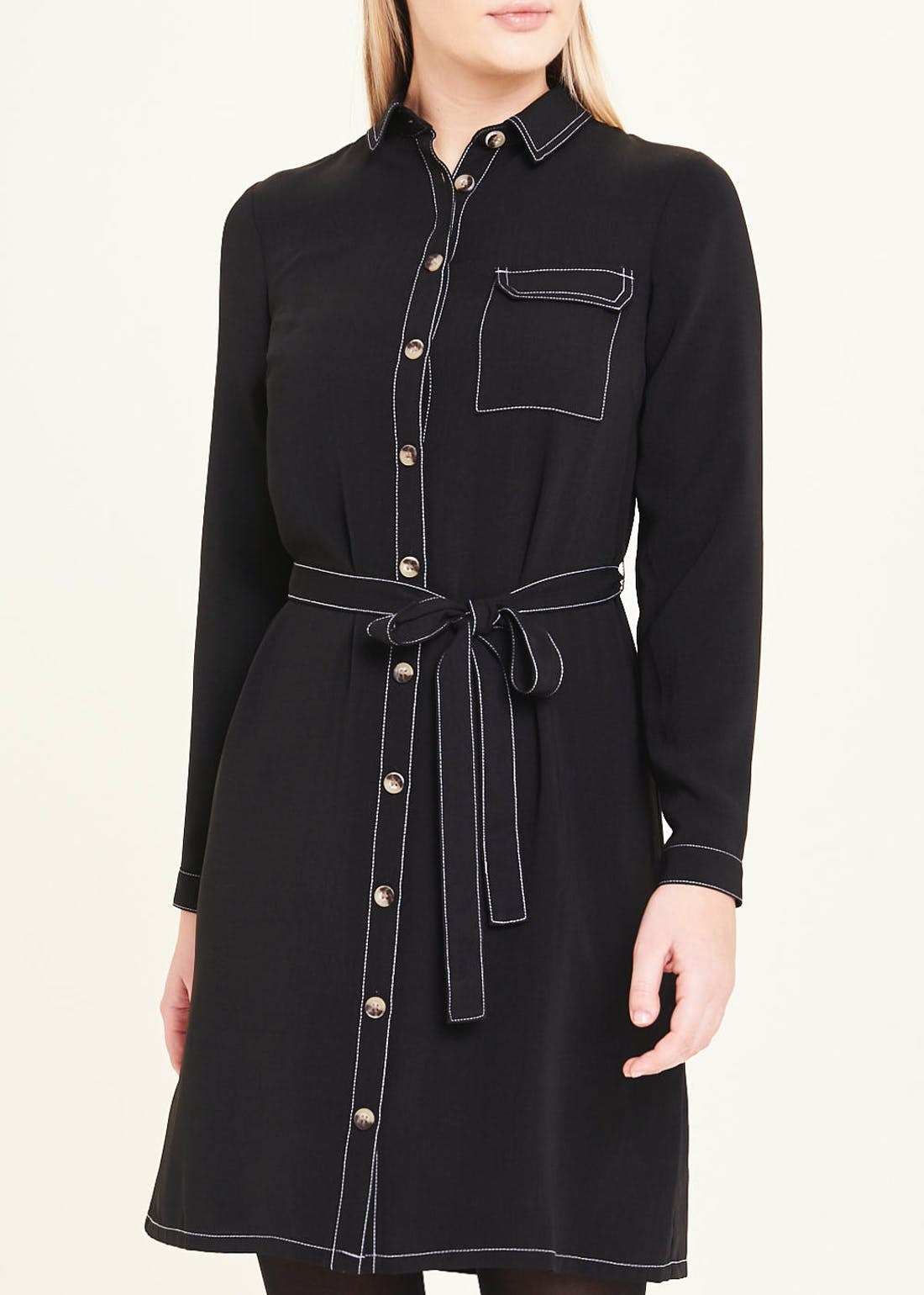 Black Long Sleeve Topstitched Shirt Dress