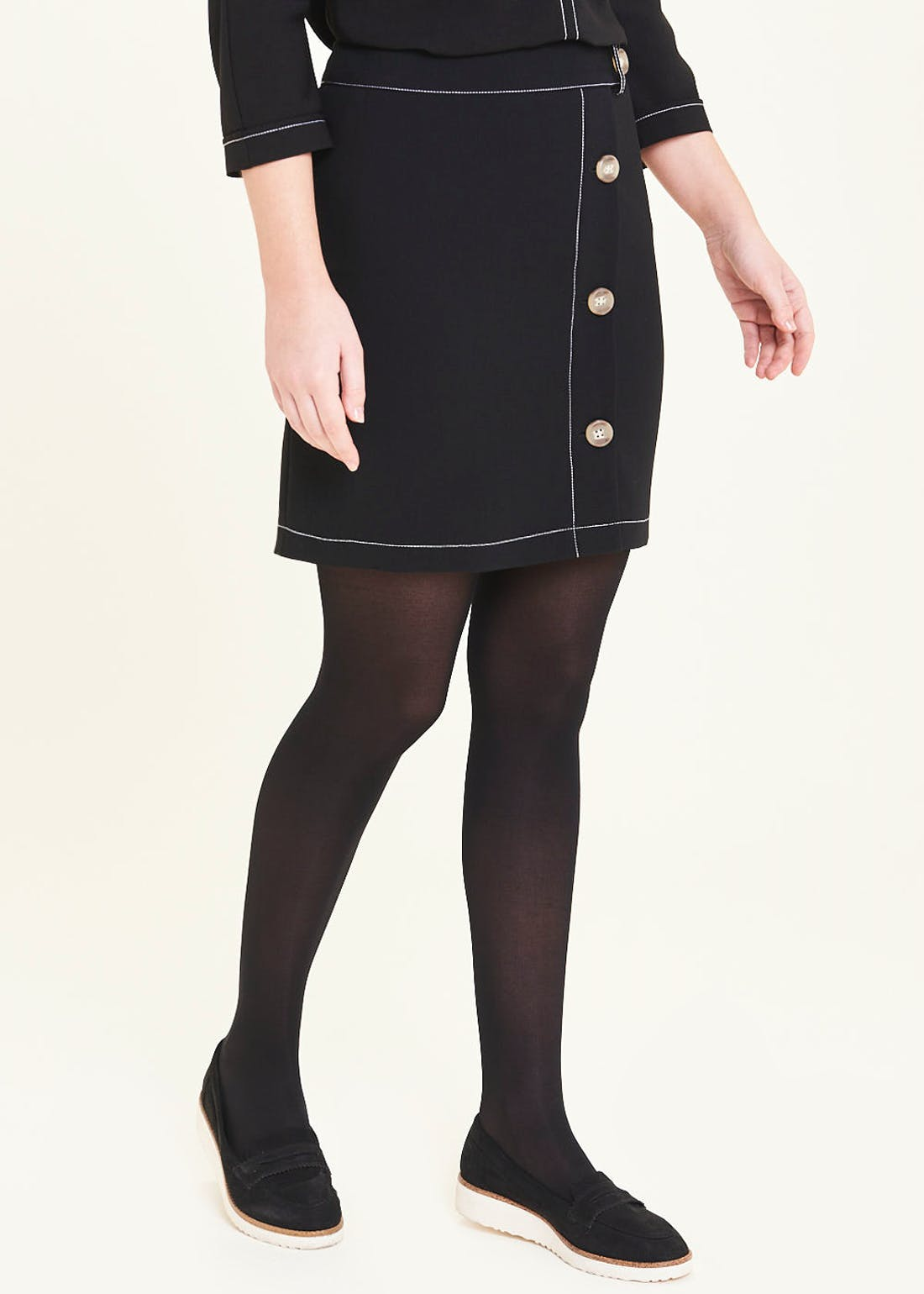 Button Side Mini Skirt