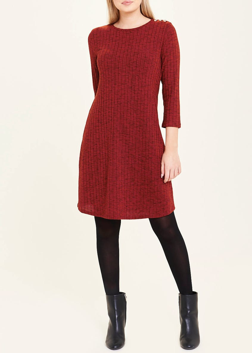 Burgundy 3/4 Sleeve Jersey Swing Dress