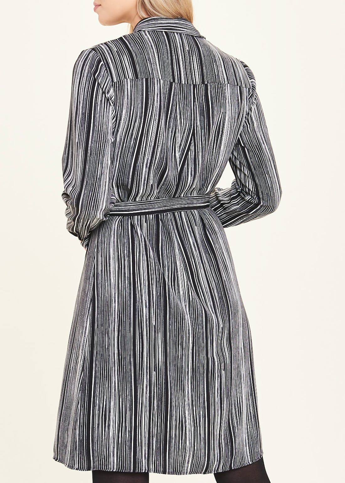 Black Long Sleeve Stripe Shirt Dress