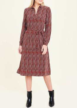 Rust Long Sleeve Printed Midi Shirt Dress