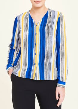 Long Sleeve V Neck Stripe Blouse