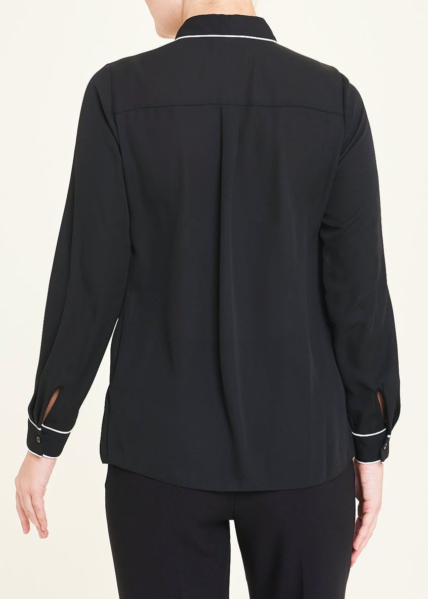 Black Long Sleeve Piped Blouse