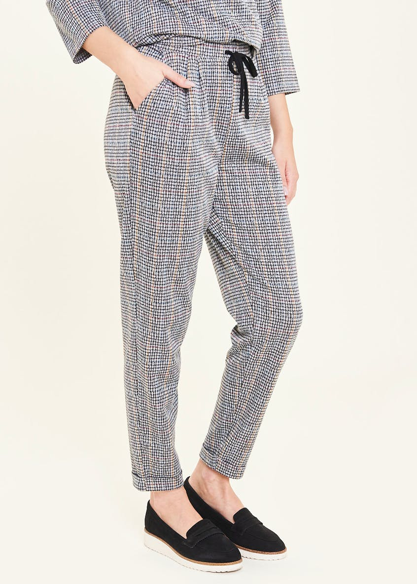 Drawstring Tapered Check Co-Ord Trousers