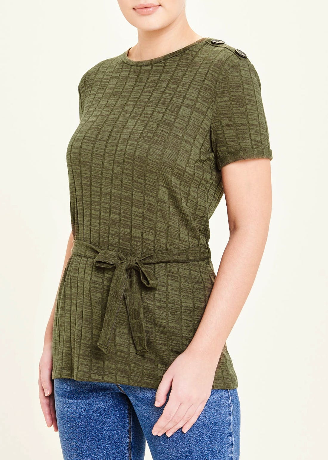 Belted Button Shoulder T-Shirt