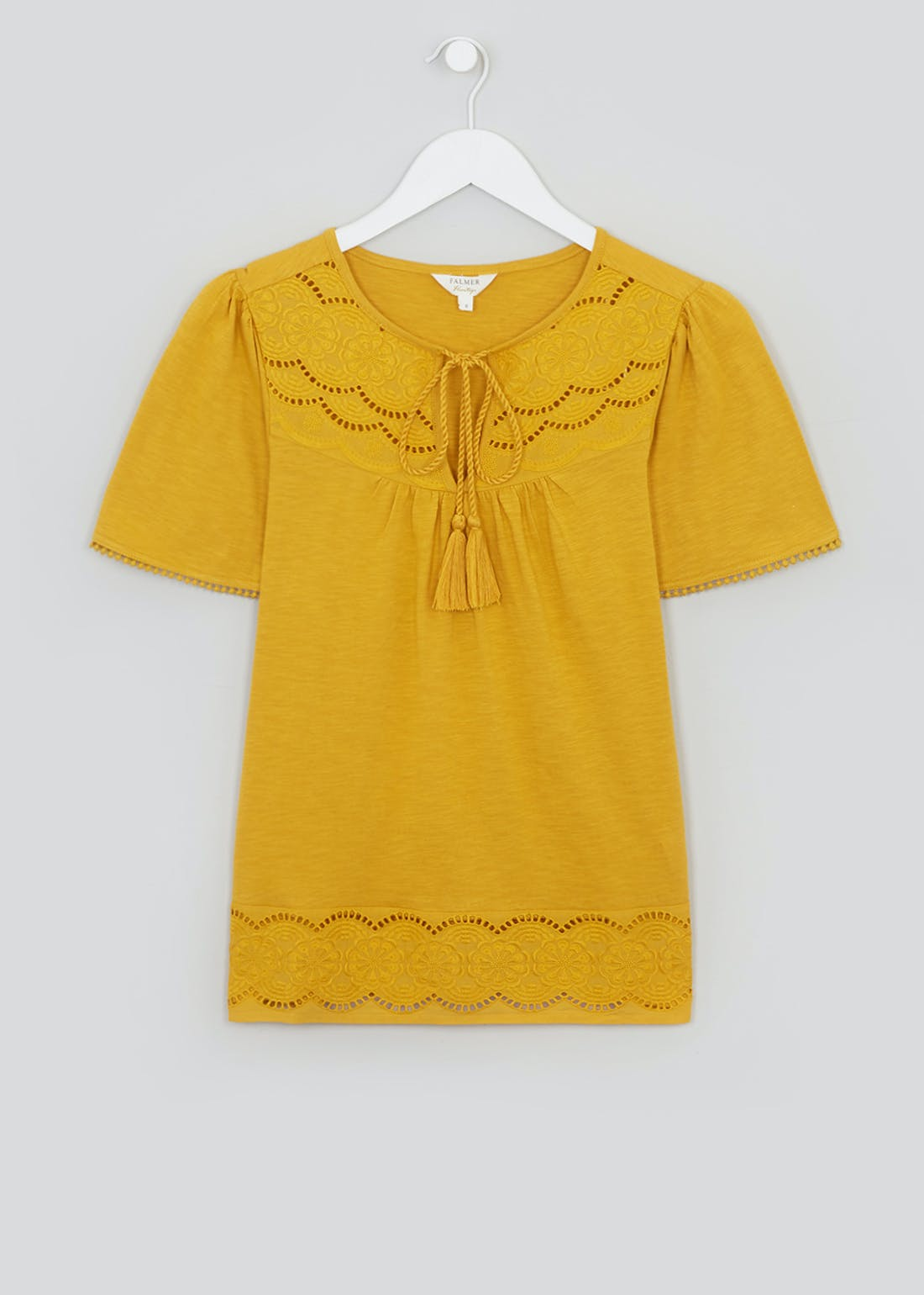 Falmer Yellow Short Sleeve Embroidered Top