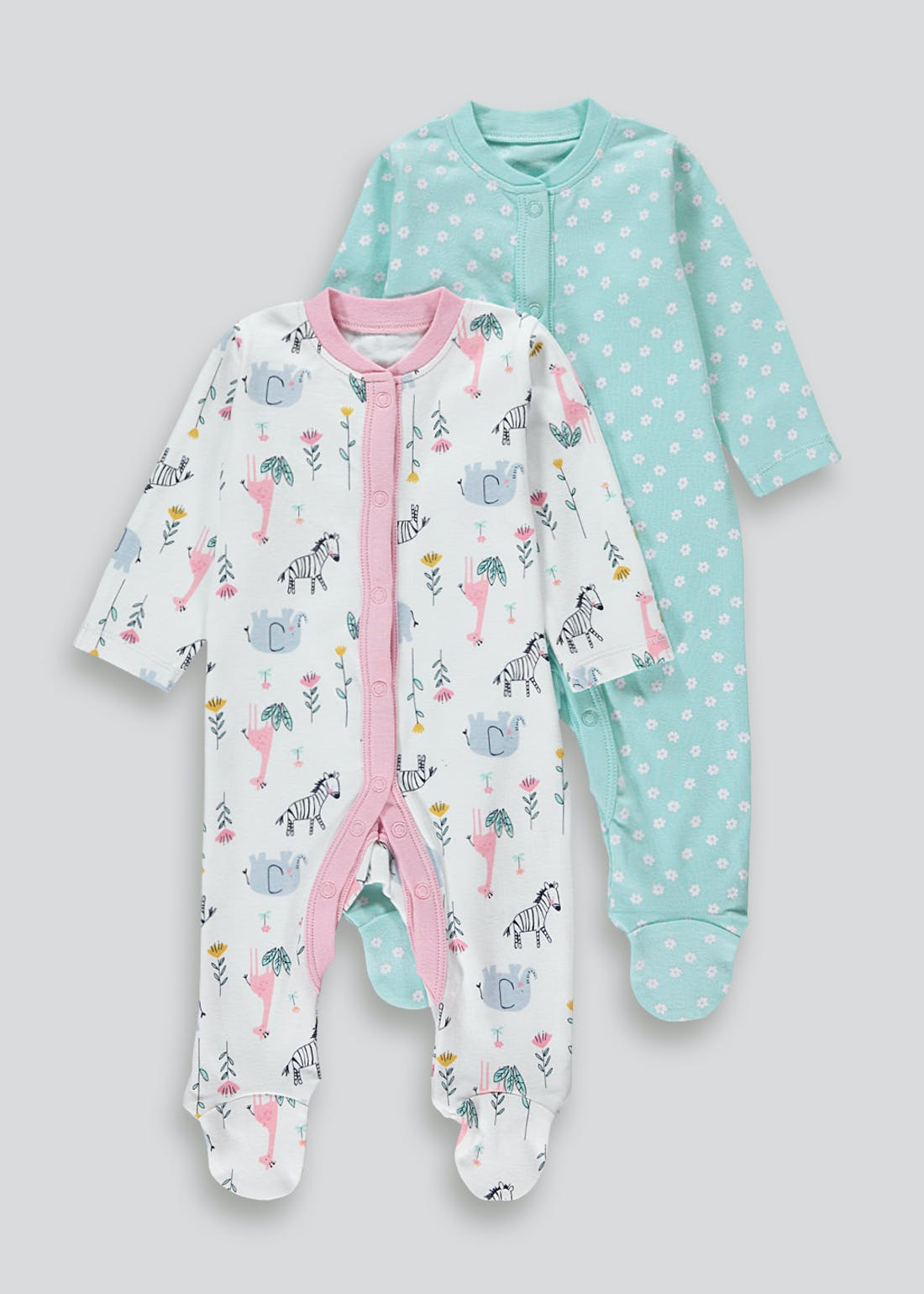 Girls 2 Pack Baby Grows (Tiny Baby-18mths)