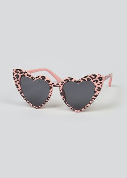 Girls Leopard Print Heart Sunglasses (One Size)