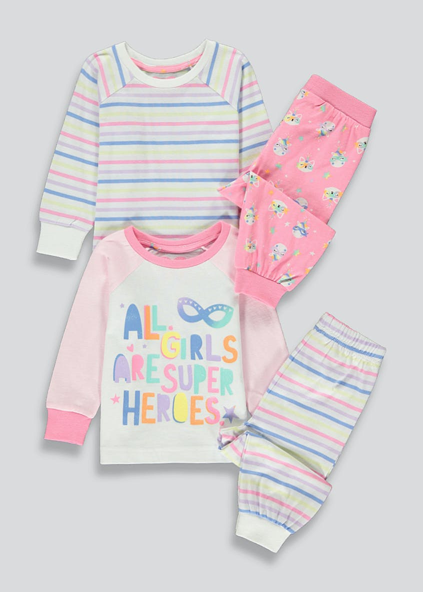 Girls 2 Pack Superhero Pyjamas (9mths-5yrs)