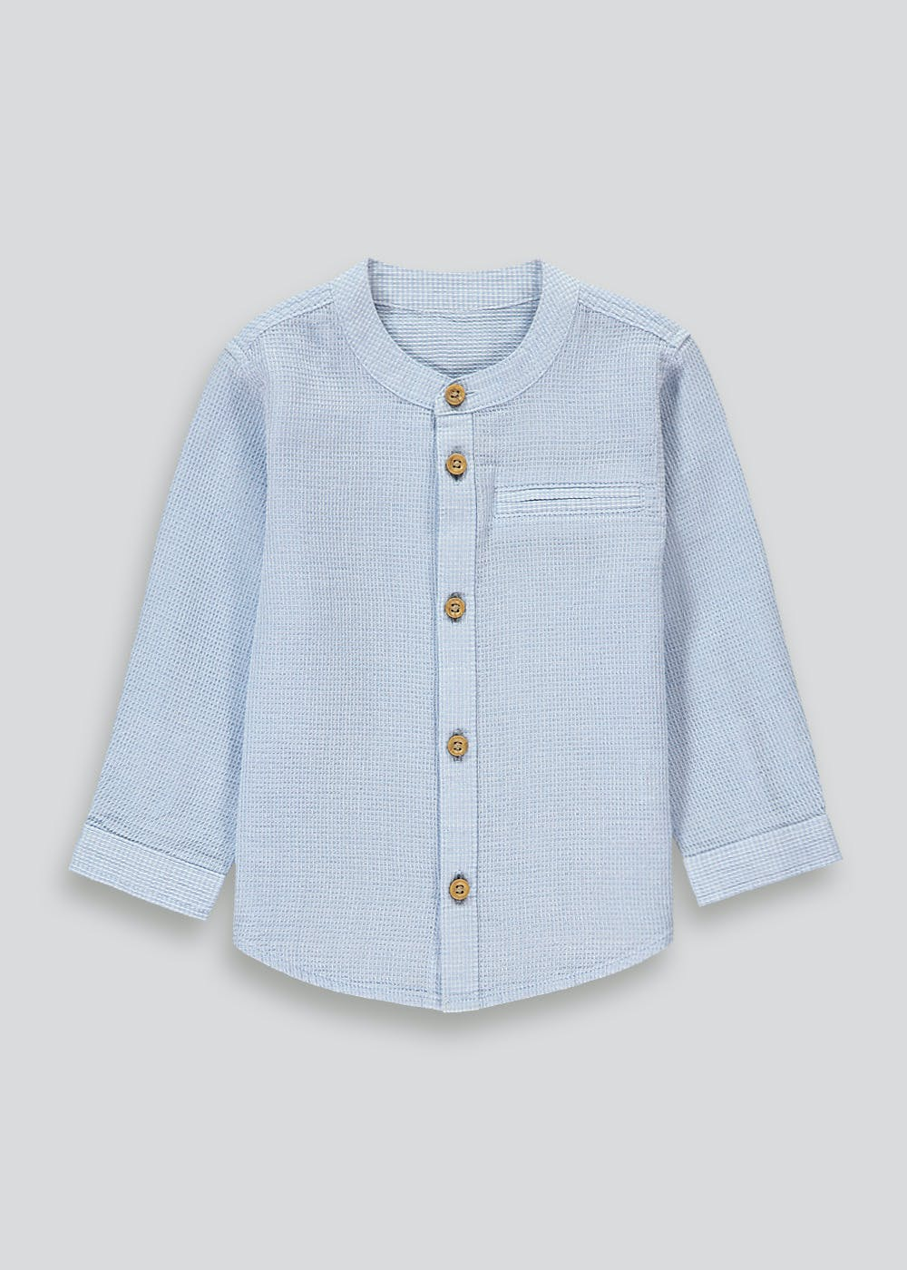 Blue henley collar shirt