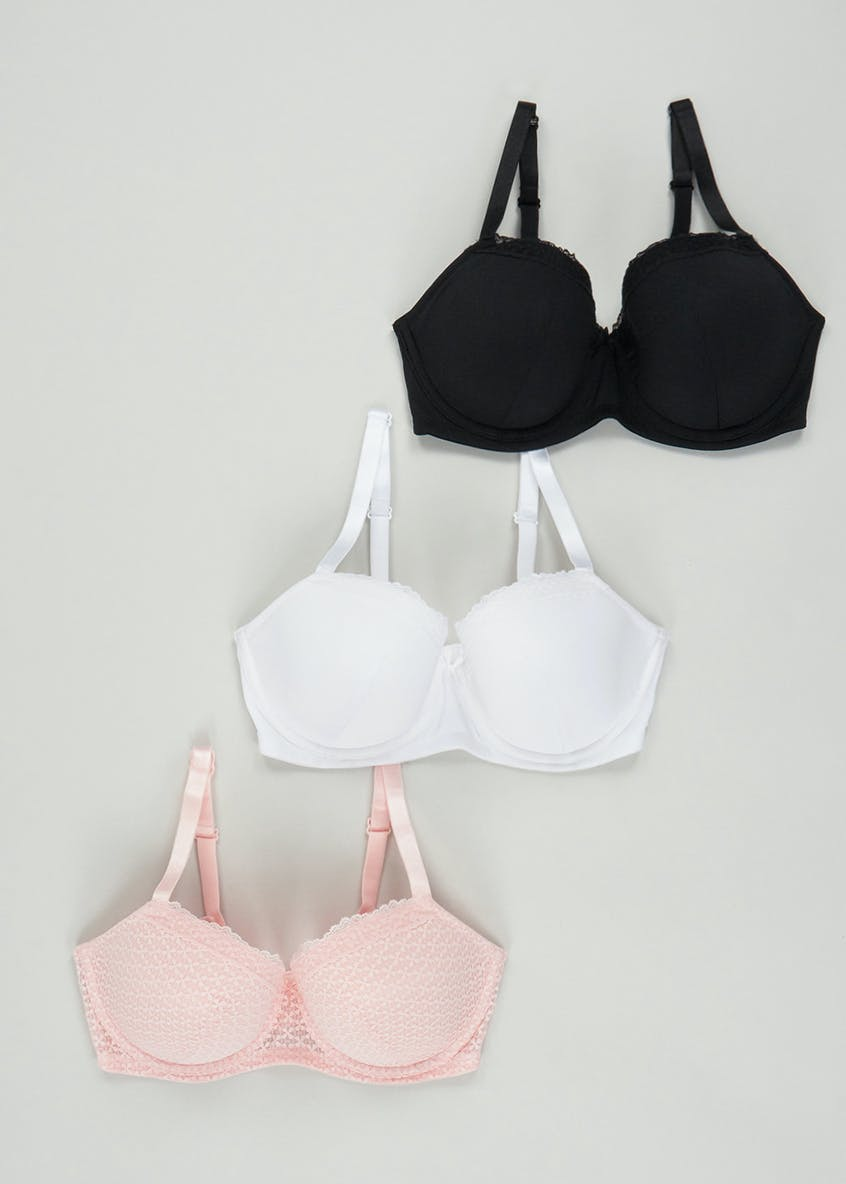 3 Pack DD+ Textured Lace T-Shirt Bras