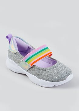 Girls Grey Rainbow Strap Slip On Shoes (Younger 4-12)