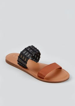 Wide Fit Black Twin Strap Mules