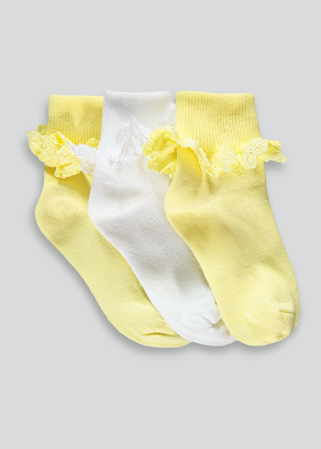 Girls 3 Pack Lace Trim Socks (Newborn-8.5)