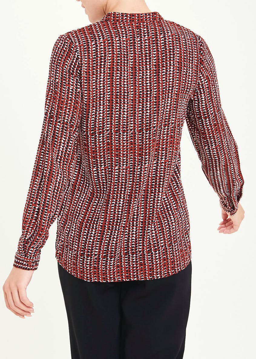 Burgundy Long Sleeve Abstract Spot Henley Blouse