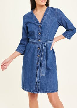 3/4 Sleeve Tie Waist Denim Shirt Dress
