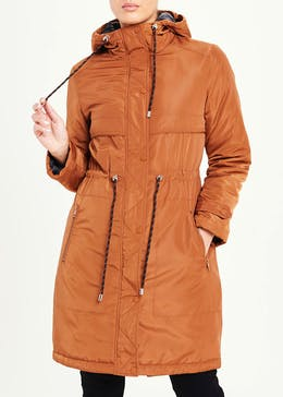 Rust Padded Hooded Parka