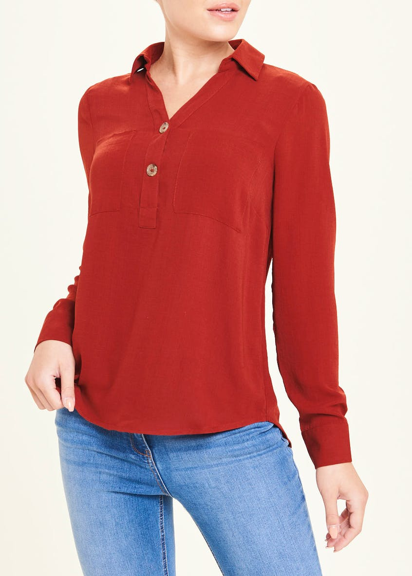 Burgundy Long Sleeve Double Pocket Button Blouse