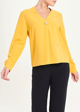 Mustard Long Sleeve Pleat Front Blouse