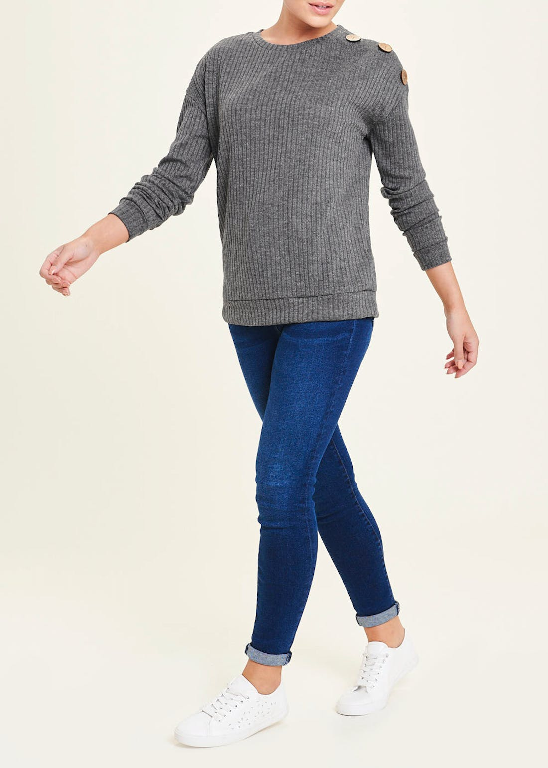 Long Sleeve Ribbed Button Shoulder Top