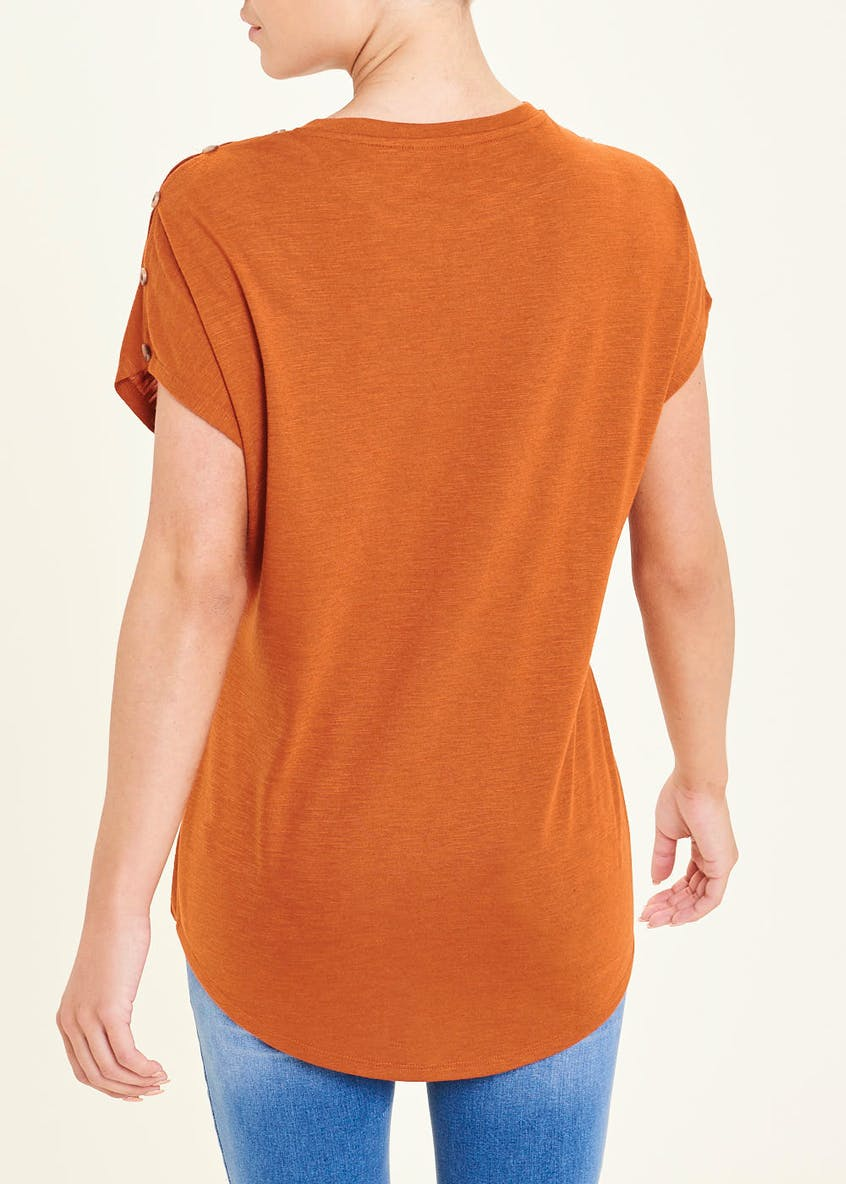 Button Shoulder Tie Side T-Shirt