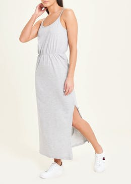 Grey Sleeveless Jersey Maxi Dress