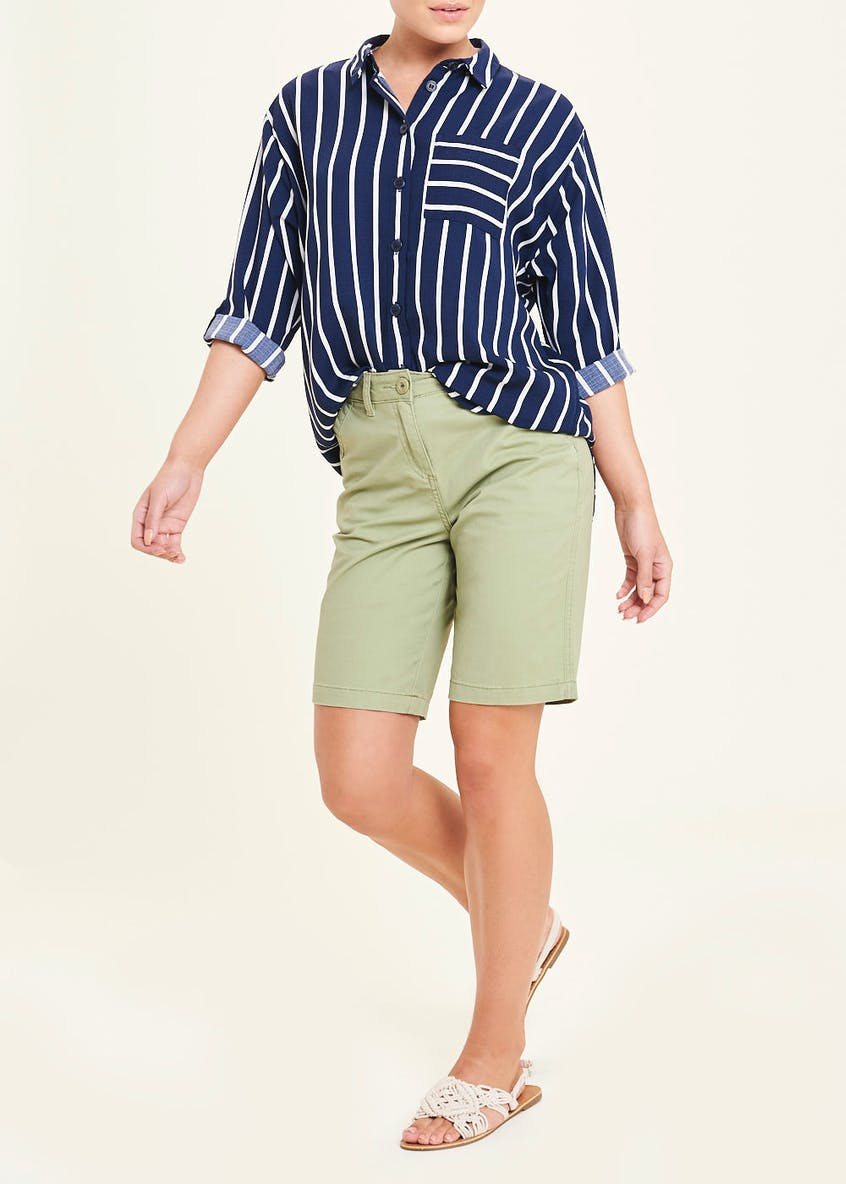Navy 3/4 Sleeve Stripe Utility Blouse
