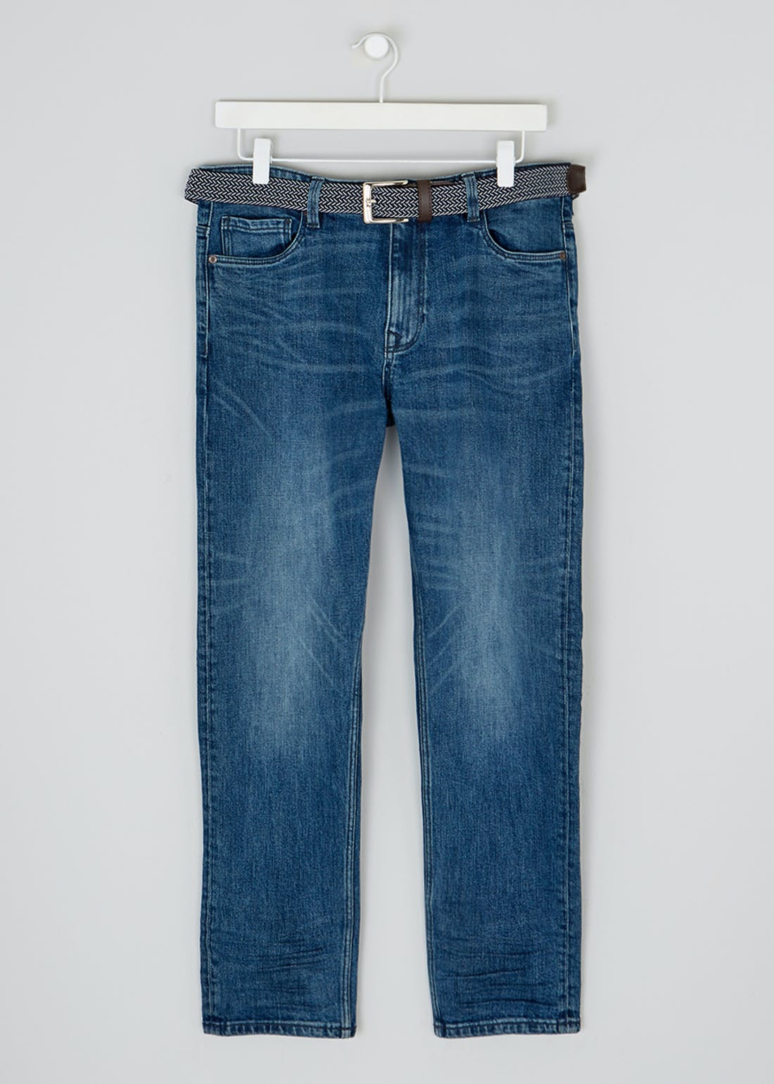 Lincoln Stretch Straight Fit Belted Jeans