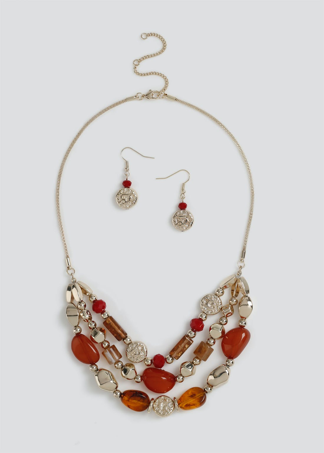 Multi Bead Necklace & Earring Set