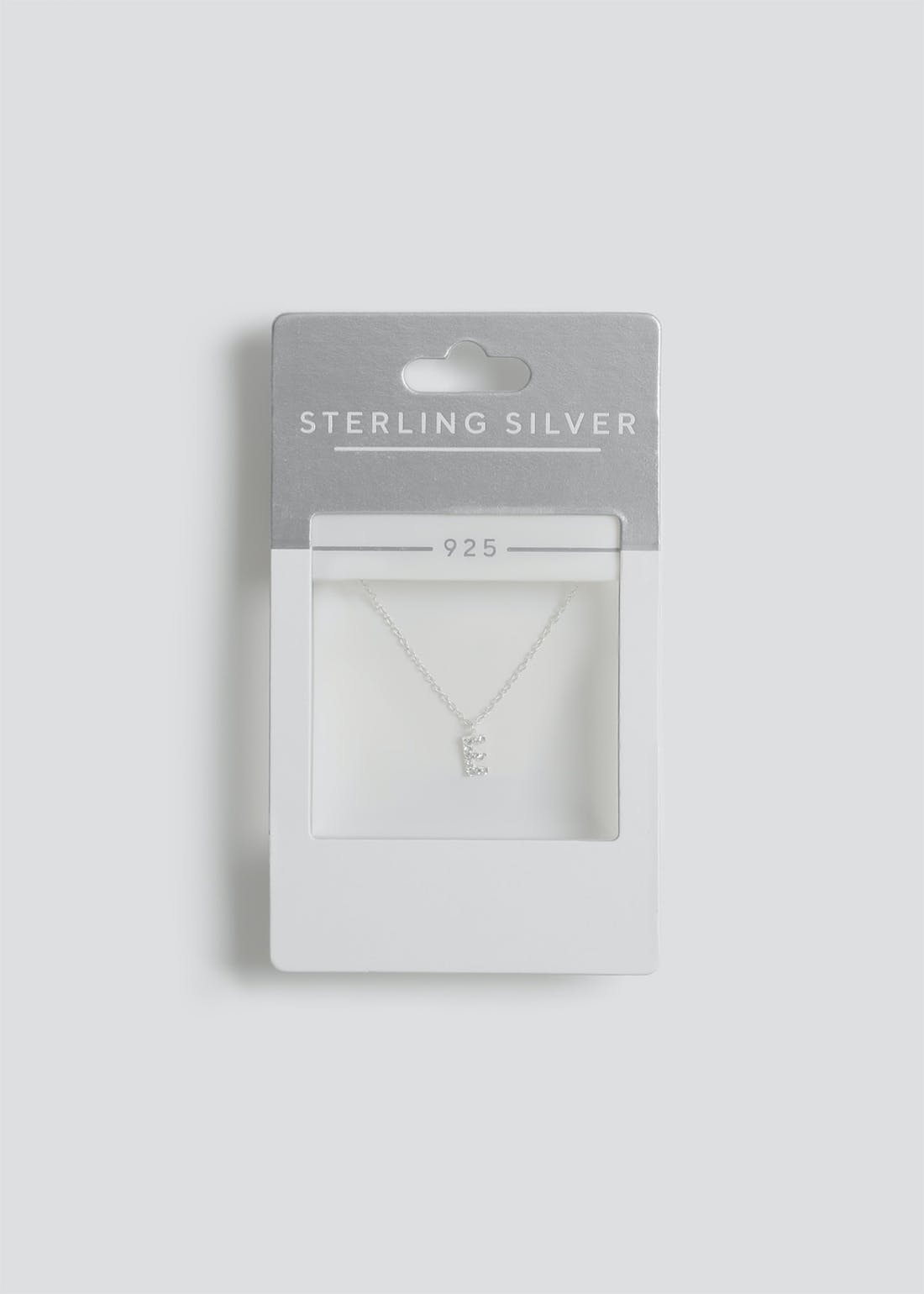 Sterling Silver 'E' Initial Necklace