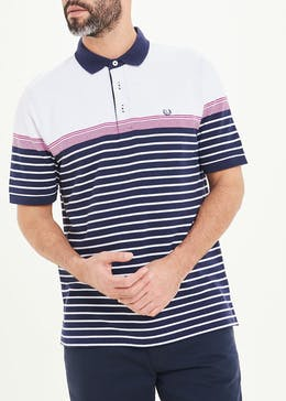 Lincoln Short Sleeve Stripe Oxford Polo Shirt