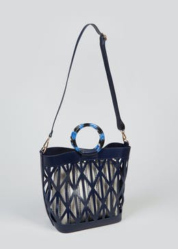Navy Cut Out Tote Bag