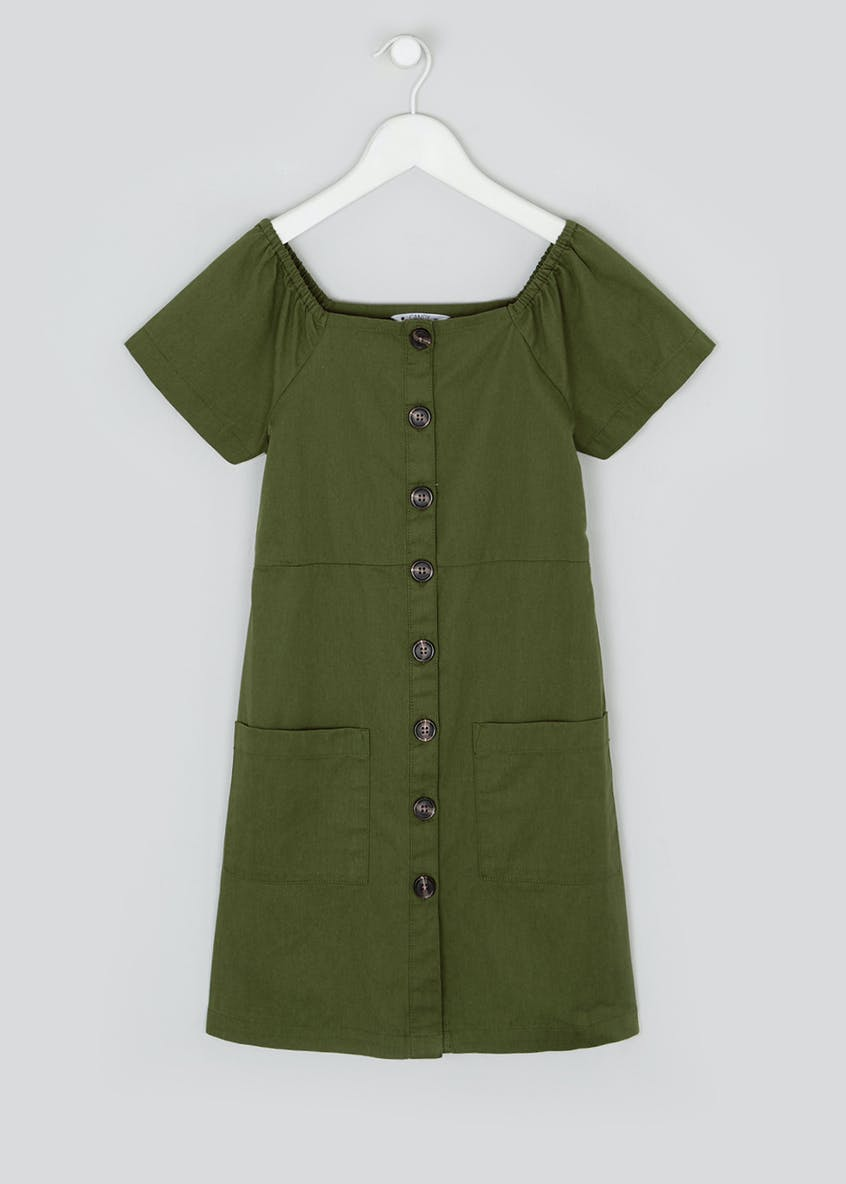 Girls Candy Couture Short Sleeve Khaki Utility Dress (9-16yrs)