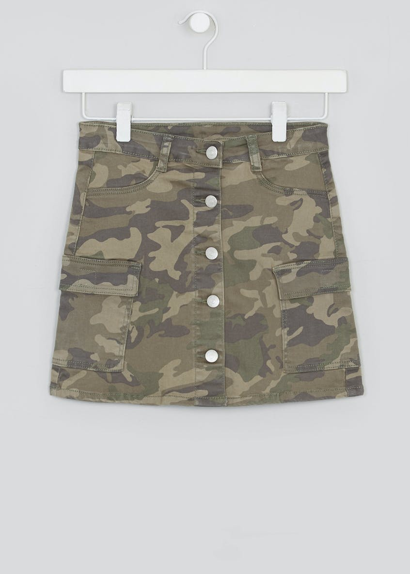 Girls Candy Couture Camo Mini Skirt (9-16yrs)