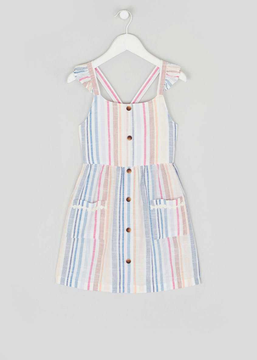 Girls Strappy Stripe Button Dress (4-13yrs)