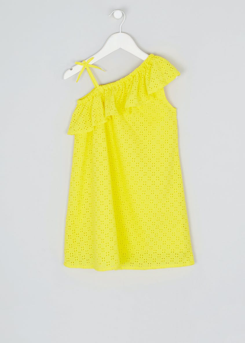 Girls Broderie One Shoulder Dress (4-13yrs)