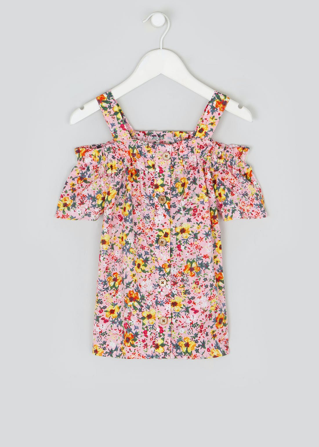 Girls Floral Bardot Sleeve Top (4-13yrs)