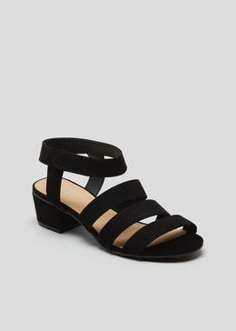 Wide Fit Black Strappy Sandals