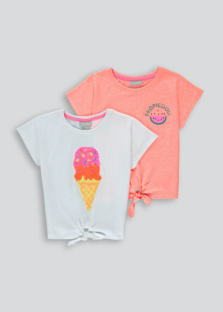 Girls 2 Pack Tie Front T-Shirts (4-13yrs)