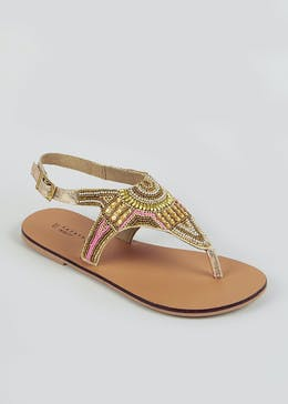 Wide Fit Brown Beaded Toe Post Sandals
