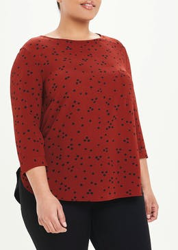 Papaya Curve 3/4 Sleeve Woven Front Top