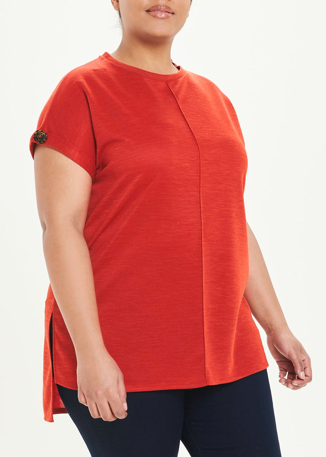 Papaya Curve Longline Button Sleeve T-Shirt
