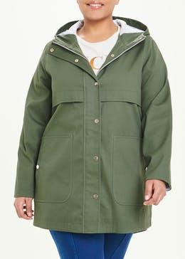 Papaya Curve Khaki Hooded Utility Coat