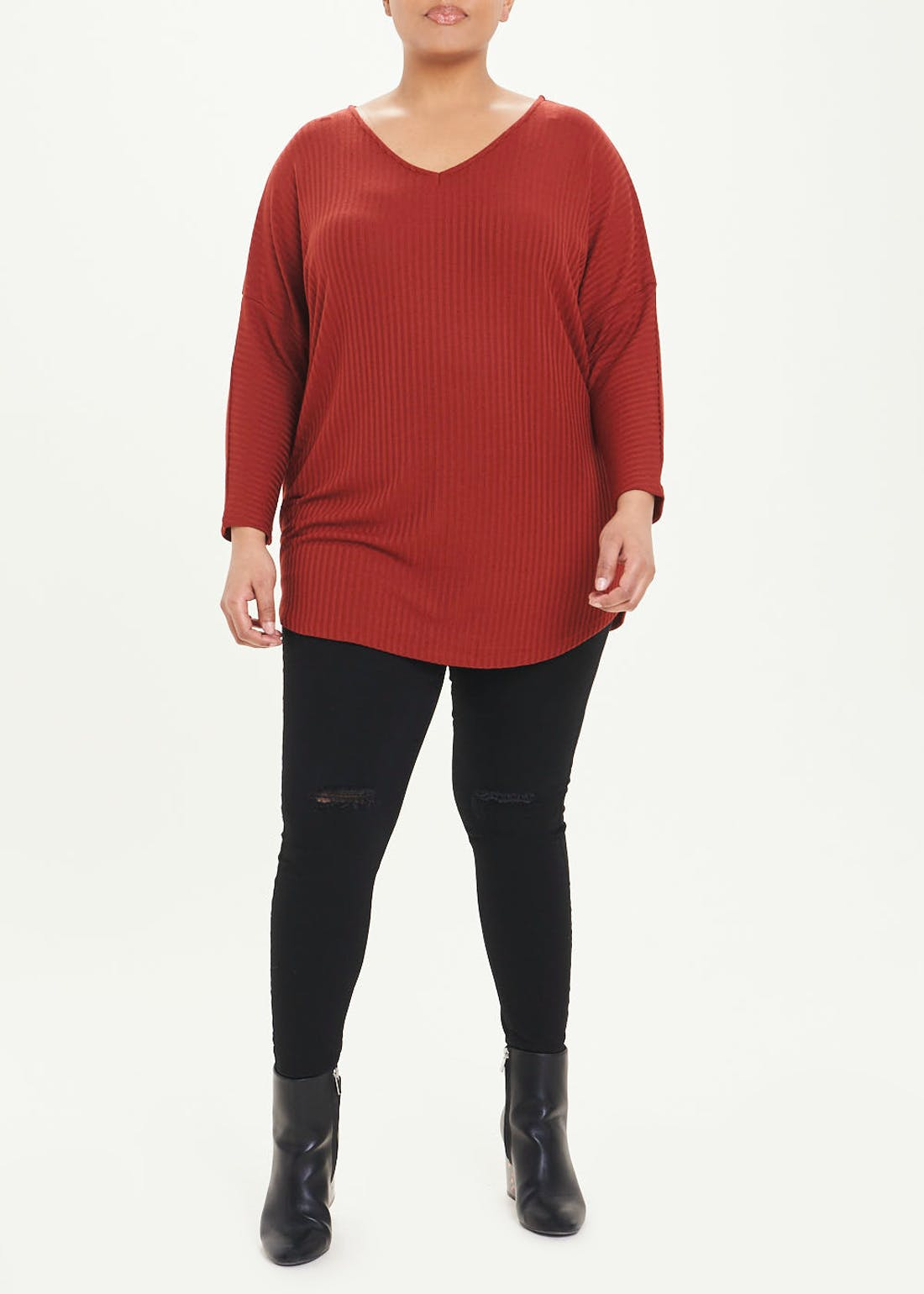 Papaya Curve Long Sleeve Ribbed Batwing Top