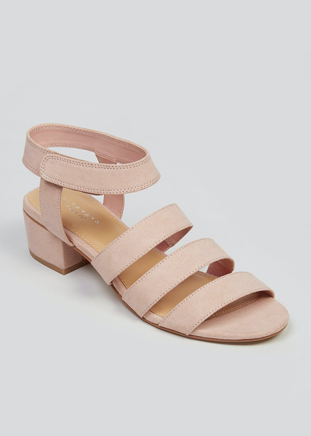 Wide Fit Pink Strappy Block Heel