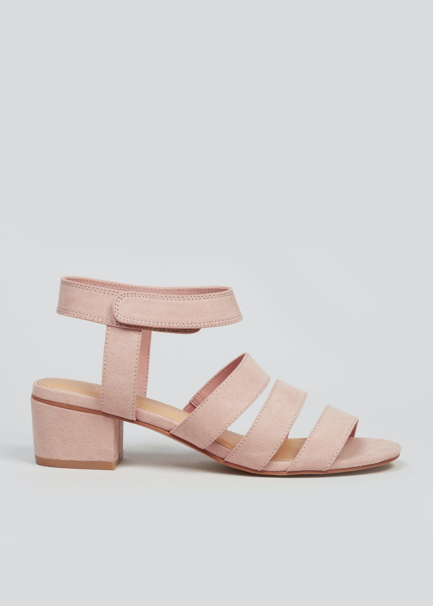Wide Fit Pink Strappy Block Heel Sandals